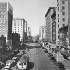 (OMC.2012.1.09) - View North on Broadway from Grand (atop Culbertson Building), c. 1930s